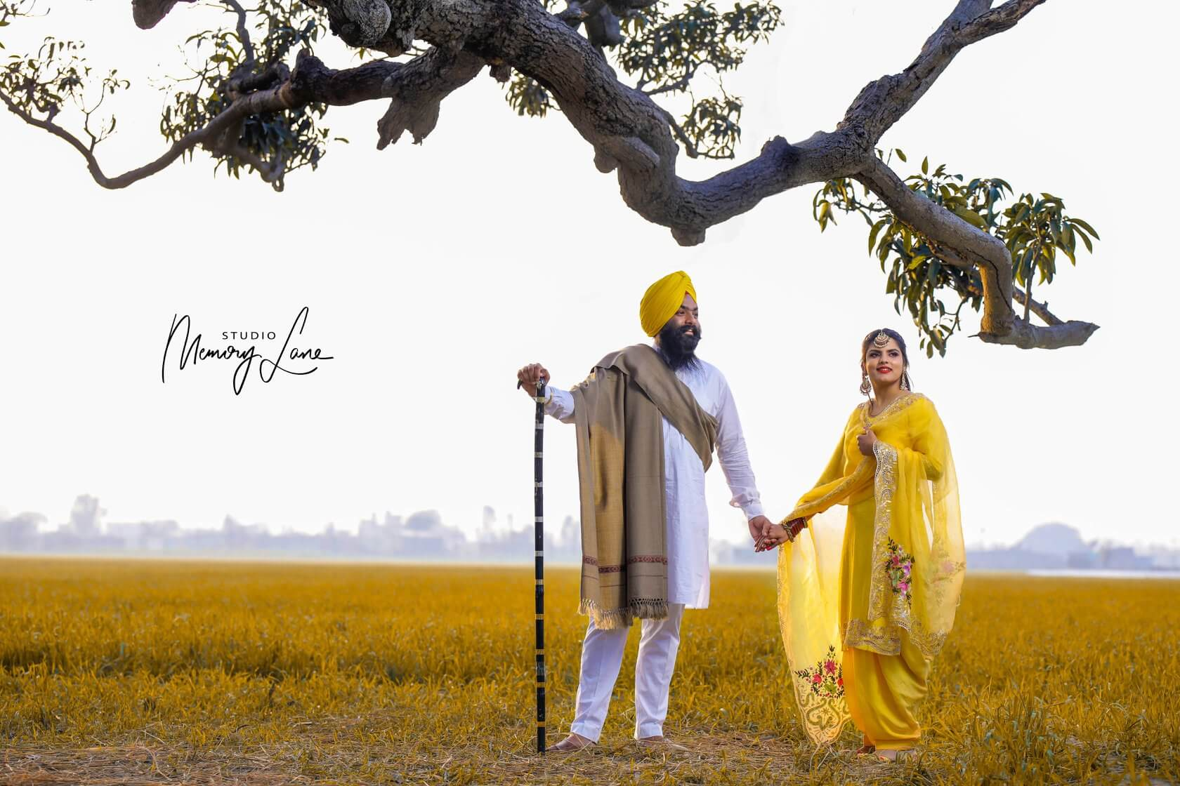 Best Pre-wedding photographers in Moga - yellow color of love